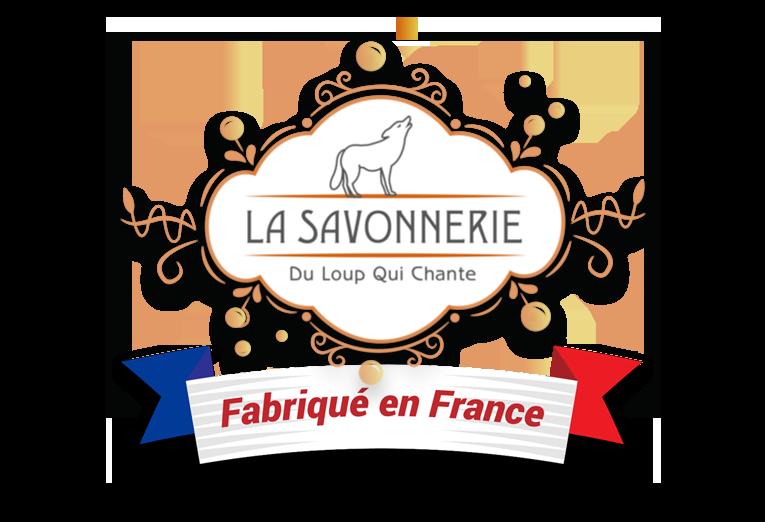 logo fabriqué en France de la savonnerie du loup qui chante